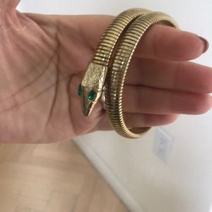 Unique wraparound cult snake golden bracelet